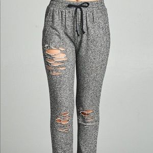 Pants - Charcoal Gray Distressed French Terry Joggers